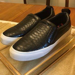 Zara black embossed slip on sneakers sz. 40